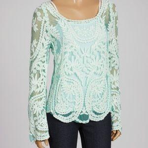 Banana USA Mint Lace Sheer Crochet Mesh Top